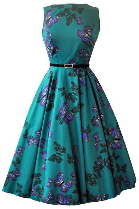 rkl4 lady vintage hepburn teal green butterfly 50s swing