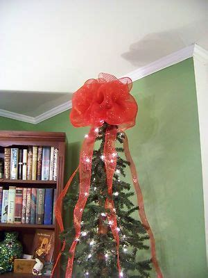red deco mesh christmas tree topper bow