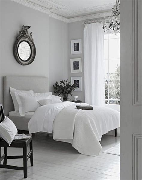 peaceful grey white bedroom  decorate