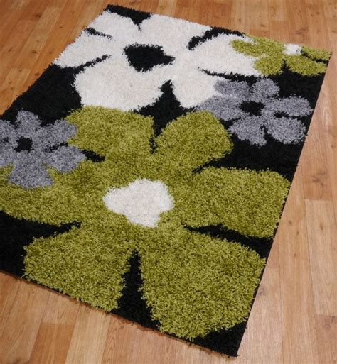 black and shaggy rugs funky blooms shaggy rugs in black green and