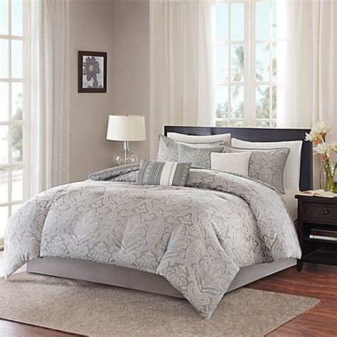 madison park comforters madison park averly 7 piece comforter set in grey bed