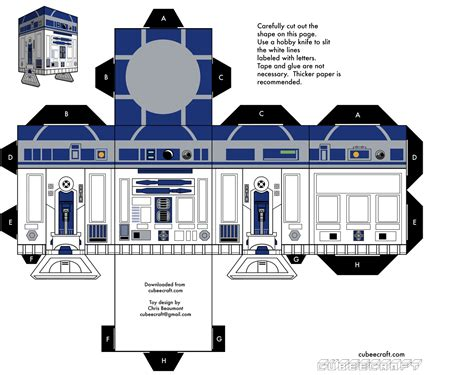 paper craft r2 d2 wars papercraft