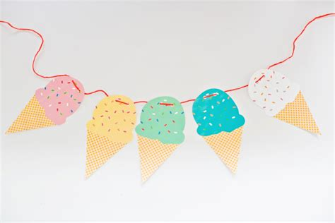 printable paper garland hello wonderful free printable ice cream cone garland
