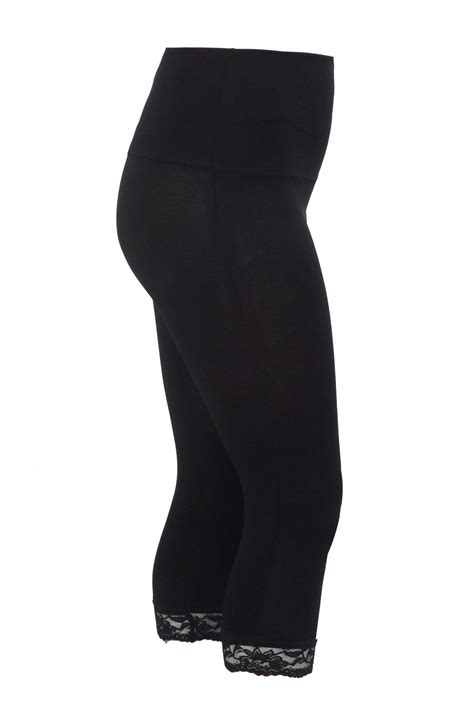 Add Target Gift Card To Account - black tummy control cropped leggings with lace trim plus size 14 16 18 20 22 24 26 28