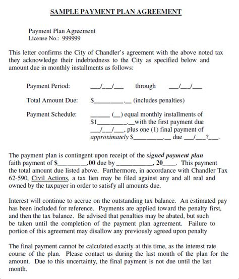 6 Sle Installment Agreement Templates Sle Templates Payment Plan Template Pdf