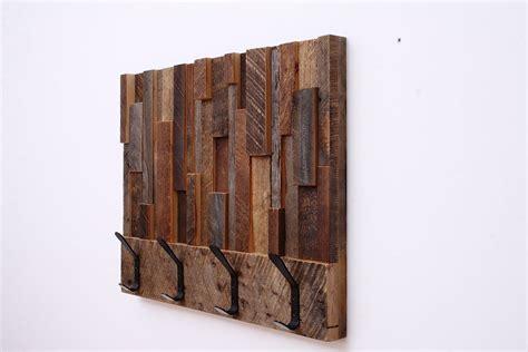 reclaimed wood wall coat rack custom made reclaimed wood art coat rack 24x18 5x4 by