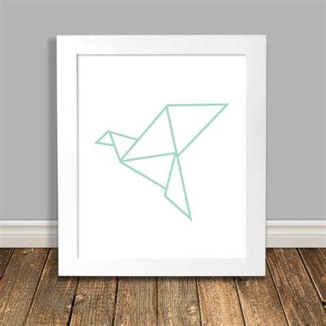 Origami Crane Printable - origami crane print geometric origami bird mint