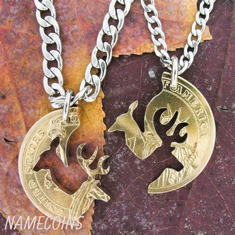 deer cut coin necklace couples interlocking gold dollar