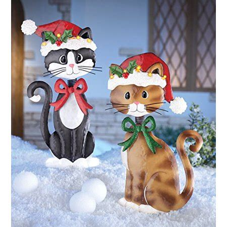 12 days of christmas metal yard art set of 2 adorable metal cats lighted santa hat brown tuxedo kitties lawn yard