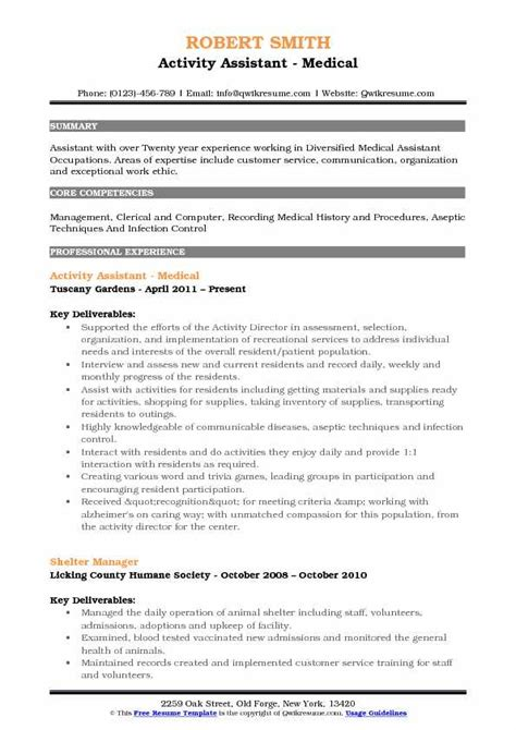 Resume For Activities Assistant Activity Assistant Resume Sles Qwikresume