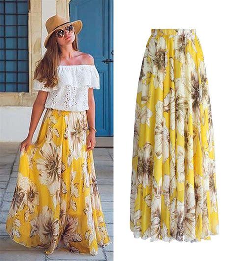 Maxi Rok Jersey Aliyahsaliyyah Bata Xl printed flowers skirts