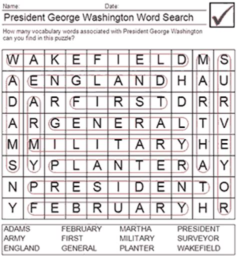 Washington Search George Washington Word Search