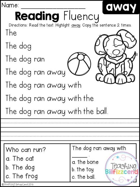 free reading fluency and comprehension set 1 first