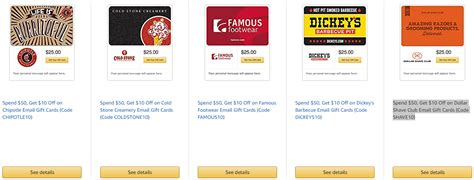 Amazon Gift Cards Sale - amazon gift card sale 20 off chipotle cold stone creamery and more miles to memories