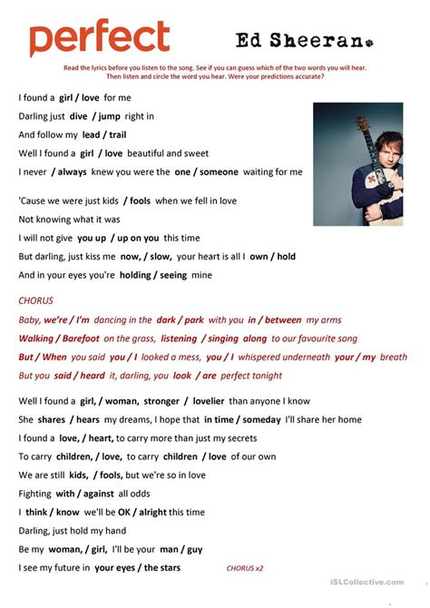 ed sheeran perfect azlyric perfect by ed sheeran song worksheet free esl
