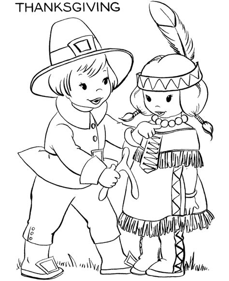 Thanksgiving Coloring Pages Native American Indian Free Thanksgiving Color Pages