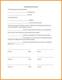 simple rental agreement template 6 basic rental agreement resumed