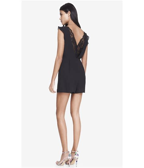 lyst express lace open back romper in pink express lace back pleated keyhole romper in black lyst