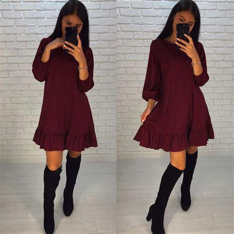 Autumn Casual Dress 25 fall 2017 fashion casual dress autumn ruffle three quarter sleeve mini dresses plus