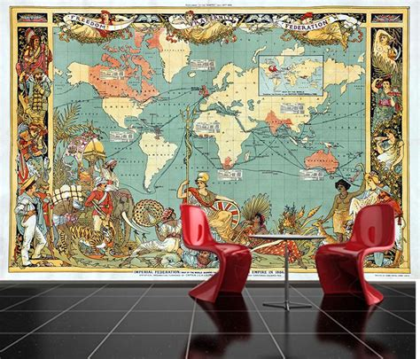 sticky wallpaper self adhesive ancient world map old british empire
