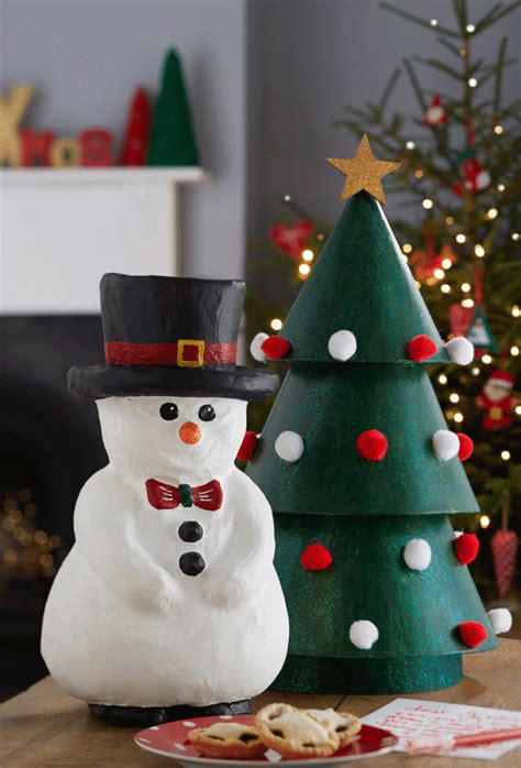How To Make Snowman With Paper - 12 ways to decorate paper mache for hobbycraft