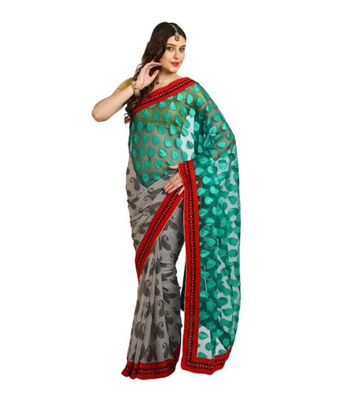 Season Blouse four seasons green embroidery saree with blouse buy four