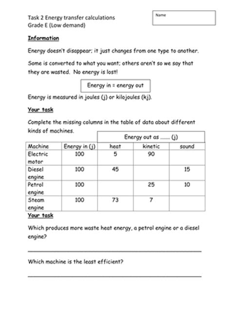 Energy Calculations Worksheet by Energy Calculations Worksheet Worksheets Releaseboard