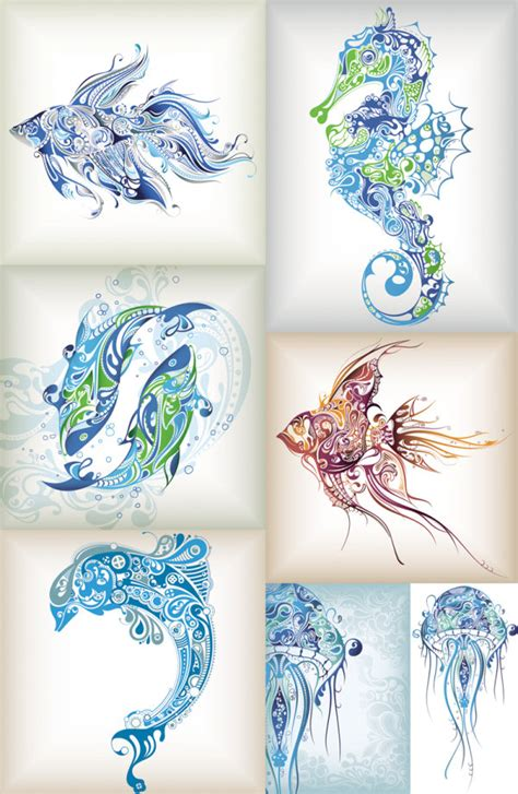 pattern animal tattoo delicate marine life pattern vector download free vector