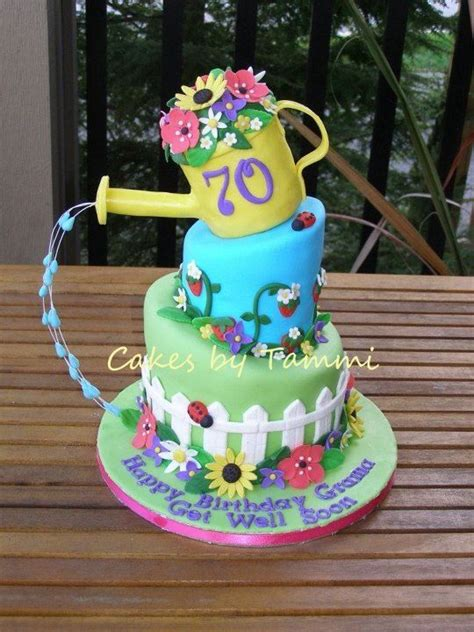 Garden Themed Cake Ideas 3 Tiered Garden Themed Cake With Watering Can On Top Water Technique Is Really Cool