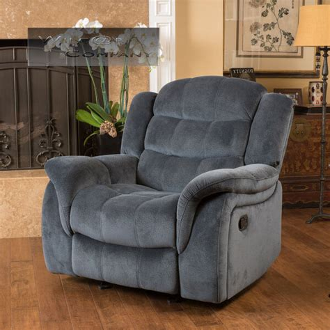 grey fabric recliner glider lazy chair reclining seat