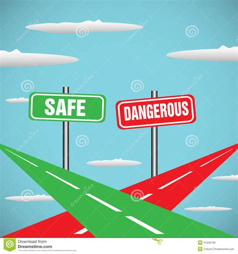 and dangerous safe and dangerous stock vector image 41530199