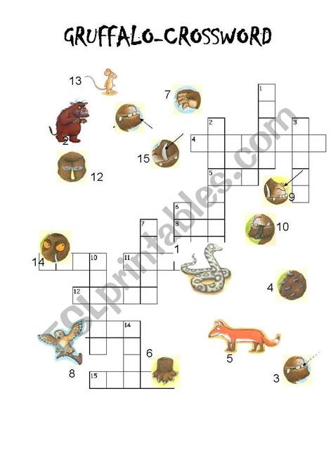 gruffalo crossword esl worksheet by venere
