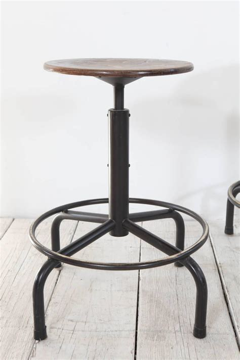 Adjustable Height Counter Stool by Metal And Wood Swivel Adjustable Height Counter Stool At 1stdibs