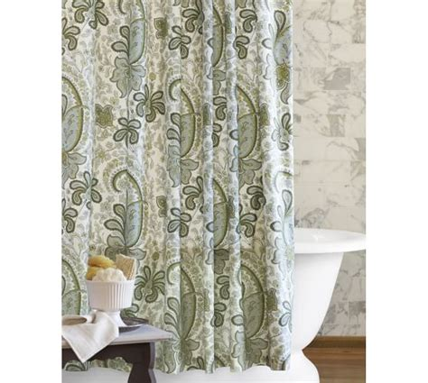 green paisley curtains charlie paisley organic shower curtain pottery barn