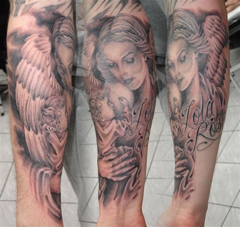 angel and cherub tattoos foot tattoos design