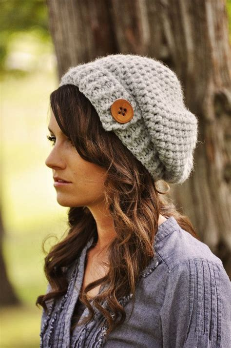 womens crochet hat womens winter hat slouchy by