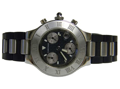 cartier chronograph sport stainless steel with