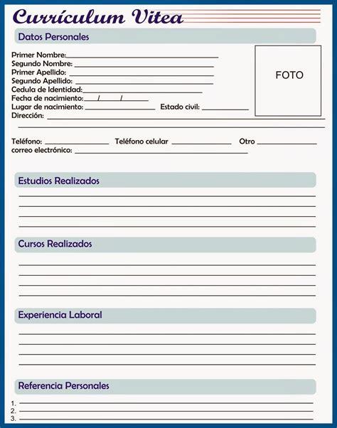 curriculum para rellenar y imprimir curriculum para preencher baixar e imprimir receitas