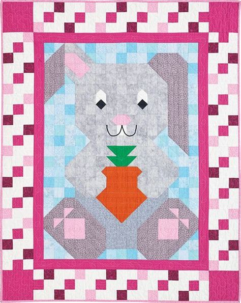 Patchwork Rabbit Pattern - bunny patch pal quilt kit cuddle up to a carrot loving