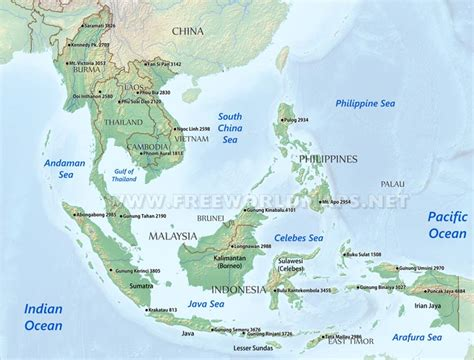 physical map of south east asia southeast asia physical map
