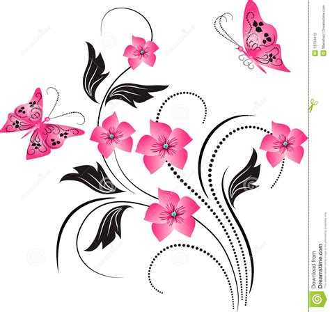 design flower and butterfly flower ornament with butterfly stock vector illustration