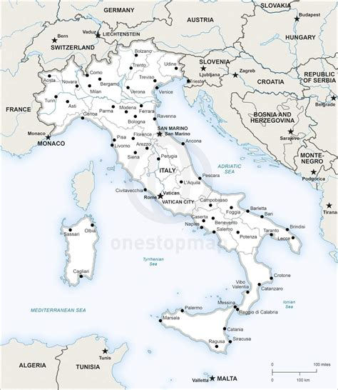 Printable Map Of Italy vector map of italy political one stop map