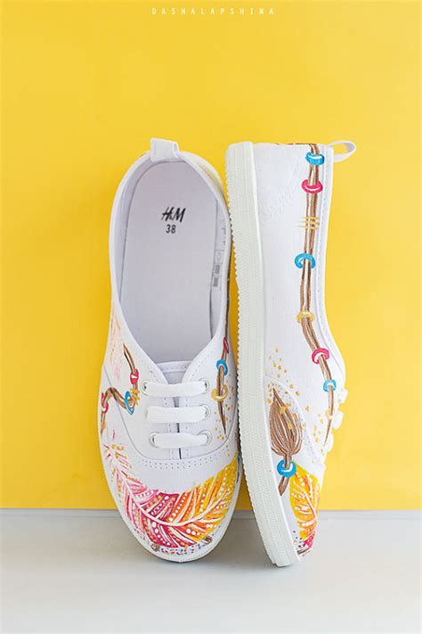 boho sneakers painted boho style canvas shoes white sneakers
