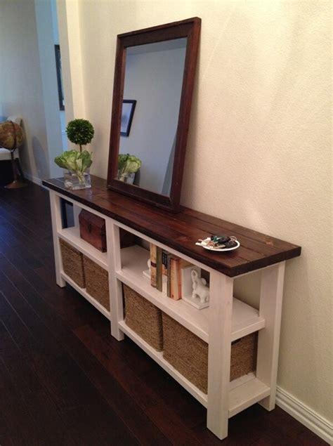diy rustic console table  perfect   entryway