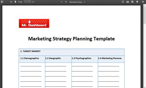 business marketing strategy template marketing strategy planning template free mr dashboard