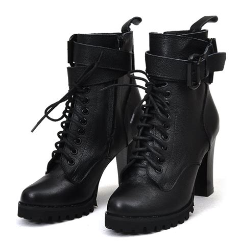womens genuine leather lace up motorcycle ankle boots