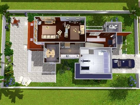 blueprints house unique sims 3 modern house floor plans new home plans design