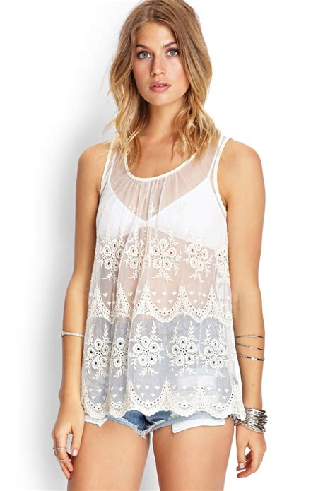 Tangtop Wanita Forever 21 forever 21 crocheted mesh tank top in white lyst