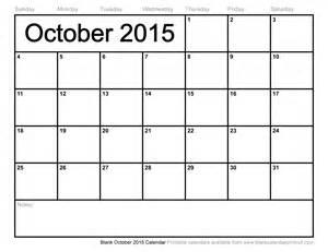 Blank Calendar October 2015 Blank October 2015 Calendar To Print