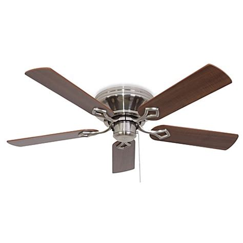 bed bath and beyond ceiling fans 52 inch hshire low profile brushed nickel ceiling fan